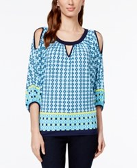 Eci Tile Print Cold Shoulder Top