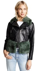 Adeam Moto Jacket With Removable Shearling Collar And Belt Black