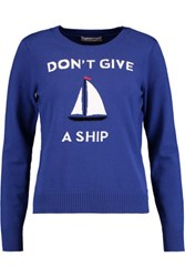 Milly Don't Give A Ship Intarsia Knit Sweater Cobalt Blue