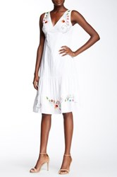 Chaudry Sleeveless Embroidered Dress White