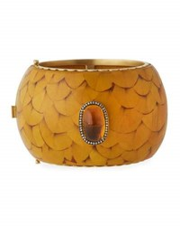 Muse Marquetry Cuff Bracelet With Brown Diamonds And Citrine