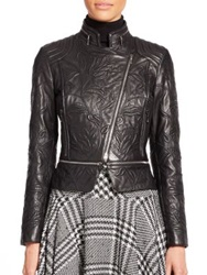 Escada Embroidered Leather Moto Jacket Black