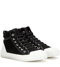 Jimmy Choo Berlin Leather Trimmed High Top Sneakers Black