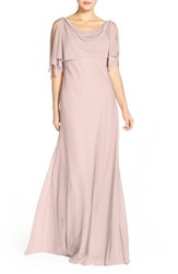 Women's Jenny Yoo 'Devon' Glitter Knit Gown With Detachable Capelet Mink