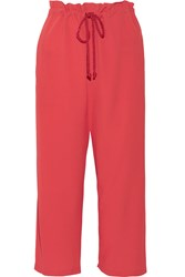 M Missoni Cropped Crepe Wide Leg Pants Red