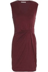 Tart Collections Annetta Gathered Jersey Mini Dress Burgundy