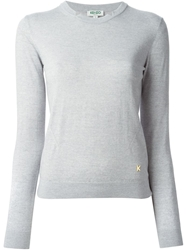 Kenzo Split Neck Sweater Grey