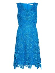 Gina Bacconi V Neck Lace Dress And Chiffon Scarf Royal Blue