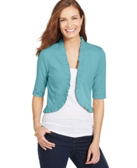 Charter Club Plus Size Ruffle Trim Bolero Cardigan Angel Blue
