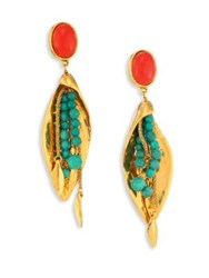 Aurelie Bidermann Monteroso Turquoise Clip On Drop Earrings Gold Multi