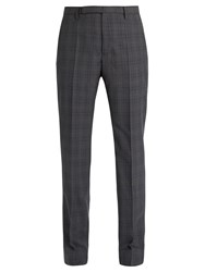 Maison Martin Margiela Mid Rise Slim Leg Wool Plaid Trousers Grey Multi