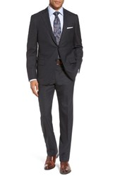Hickey Freeman Classic B Fit Check Wool Suit Grey