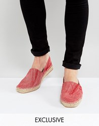 Hudson London Exclusive For Asos Washed Canvas Espadrilles Red
