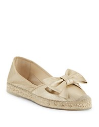 Vidorreta Shelia Leather Espadrille Flats Gold