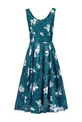 Jolie Moi Floral Print Lace Prom Dress Blue