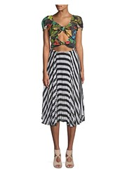 Delfi Collective Katy Cut Out Tie Front Midi Dress Multi