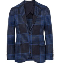 Mp Massimo Piombo Blue Slim Fit Checked Silk And Cotton Blend Blazer