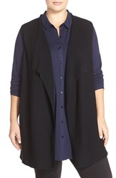 Plus Size Women's Eileen Fisher Rib Knit Wool Drape Front Vest Black