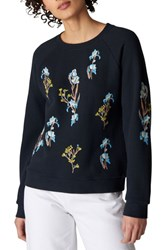 Whistles Iris Floral Embroidered Sweater Navy Multi