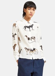 Stella Mccartney Dog Print Crepe De Chine Shirt Cream