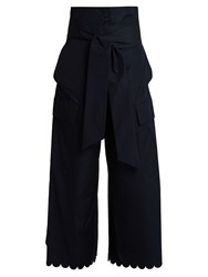 See By Chloe Fisherman Scalloped Cuff Cotton Trousers Navy