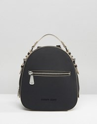 Armani Jeans Simple Backpack With Embossed Logo In Black Black