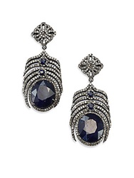 Bavna Sapphire Champagne Diamond And Sterling Silver Earrings Blue