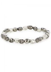 Mens Jewellery Simon Carter Gunmetal And Silver Tone Skull Bracelet