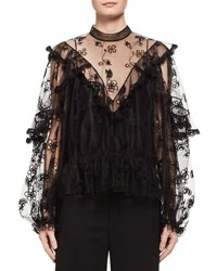 Chloe Long Sleeve Embroidered Tulle Blouse Black