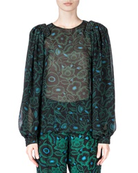 Kenzo Shadow Flower Sheer Long Sleeve Blouse Bottle Green