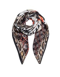 Roberto Cavalli Circus And Animal Print Silk Square Scarf Brown