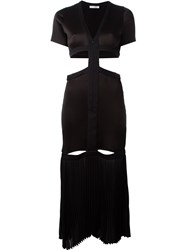 Barbara Casasola Pleated Cut Out Detail Zip Up Dress Black