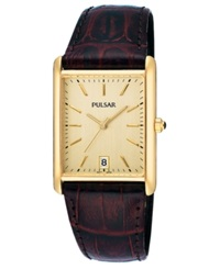 Pulsar Watch Men's Brown Leather Strap Pxda84 Women's Shoes