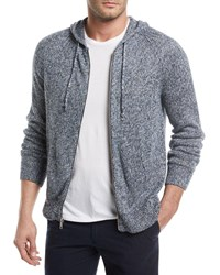 Vince Marled Knit Linen Front Zip Hoodie H Denim