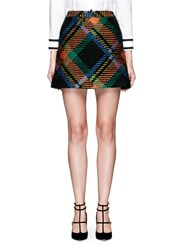 Alice Olivia 'Jessa' Wool Mohair Plaid A Line Skirt Multi Colour