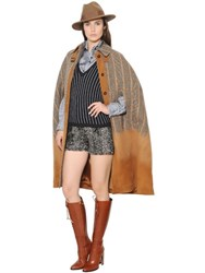 Trussardi Wool Prince Of Wales And Suede Cape