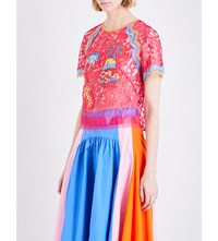Peter Pilotto Embroidered Floral Lace Top Fuchsia