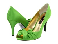 Nina Forbes Apple Green Satin Women's Slip On Dress Shoes