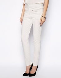Mango Zip Front Trousers Cream