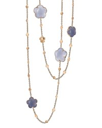 Pasquale Bruni 18K Rose Gold Chalcedony Floral Charm Necklace 39.5 Rose Blue
