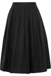 Vince Pleated Cotton Poplin Skirt Black