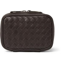 Bottega Veneta Intrecciato Leather Cufflink Case Brown