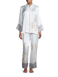Josie Natori Silk Charmeuse Pajama Set White Multi
