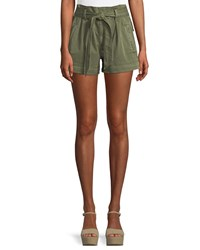 Ella Moss High Waist Belted Paperbag Shorts Green
