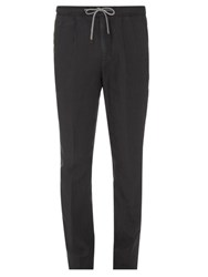Brunello Cucinelli Drawstring Waist Linen Trousers Grey