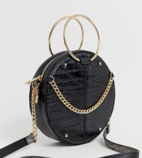 River Island Circle Cross Body In Black