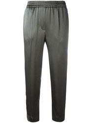 Brunello Cucinelli Striped Sides Cropped Trousers Green