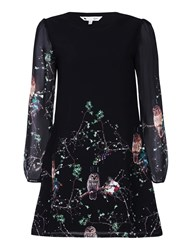 Yumi Floaty Owl Printed Tunic Dress Black