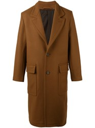 Ami Alexandre Mattiussi Classic Long Lined Coat Men Wool Polyimide 48 Brown