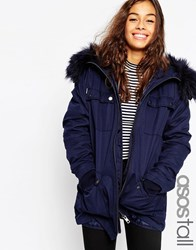 Asos Tall Parka With Quilted Lining And Fur Trim Teal